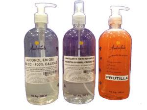 alcohol en gel, liquido sanitizante jabon liquido